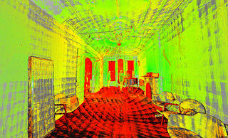 A high-res interior scan of a room at in a historic brownstone in New York City. The colors are vivid, green, yellow, and red to indicate different elements of the space.