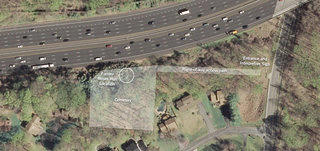 A contemporary satellite image of Morningstar Moses Cemetery property which shows the proximity of the highway to the historic site.