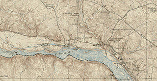 A crop of a sepia toned map from 1917 of the Washington, D.C. area. The focus identifies the Gibson Grove Church and Cabin John in proximity to the Potomac River and includes topographic lines.