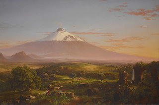 A landscape portrait with  a brown stone aqueduct leading into a river in the foreground with lush greens and tans marking rolling hills and valleys. In the background is Mt. Etna which is snow capped with some smoke coming from the top. The Mountain and the sky are awash in pale lavender hue blending into a warm orange and blue with clouds dotting the horizon.