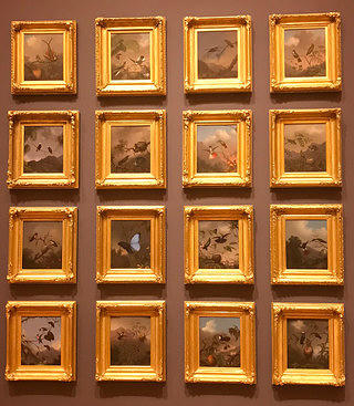A grid of sixteen ornate gold frames arranged in a four by four pattern. Within each frame is an intricately painted image of hummingbirds, butterflies, and other pollinators.