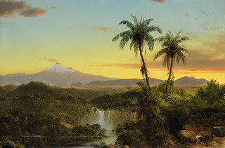A painting of a tropical landscape with two palm trees on the right foreground in various hues of green for trees and a waterfall leading into a river. The sky is painted in colors of light blue and yellow with a snow capped mountain in the background that has a steam of smoke coming from the top.