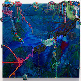 This image is of a equatorial jungle, deep blues with vivid greens of plans spread out across the campus. Using collage and beads the artist pulls out certain colors in various areas to add definition and abstraction to the piece.